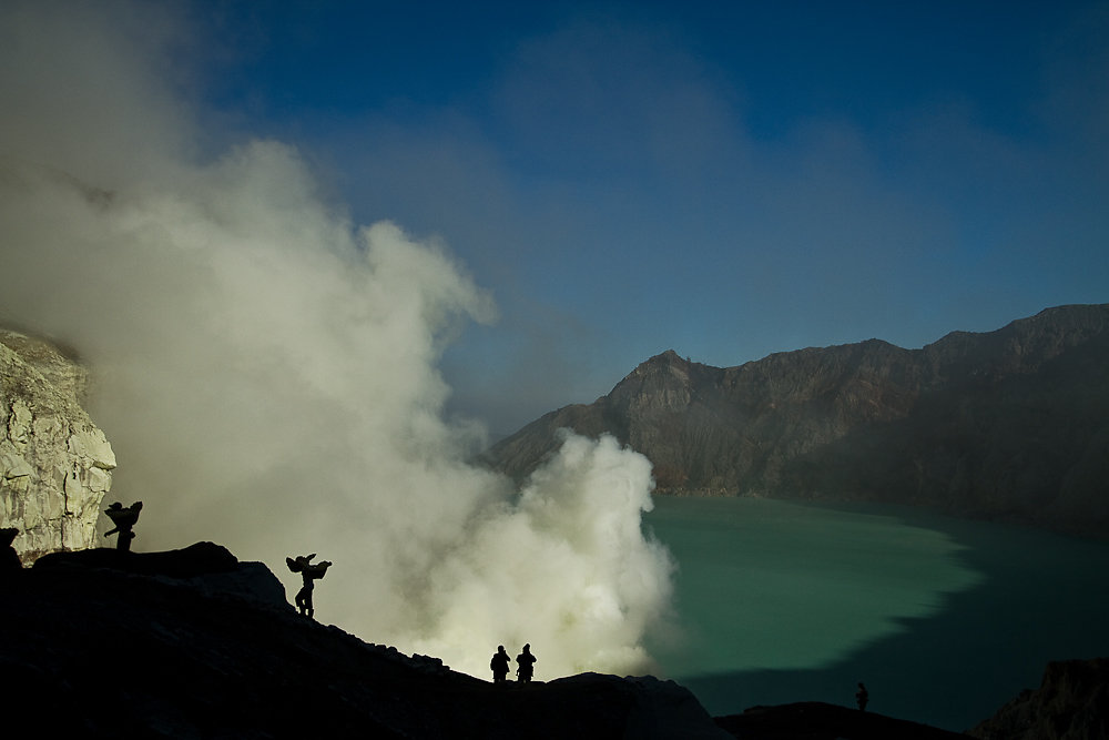 Sulfur mining at Kava Ijen  - Indonesia